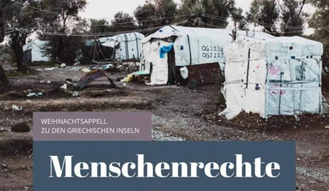 """Zelte der UN, in denen die Geflüchteten in Moria vor dem Brand lebten. Auf dem Bild steht: """"Weihnachtsappell zu den griechischen Inseln. Menschenrechte."""""""